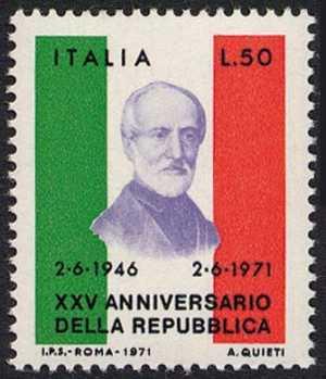 25° Anniversario della Repubblica - effige di Mazzini - L. 50