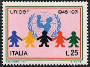 25°  Anniversario dell' U.N.I.C.E.F. - L. 25