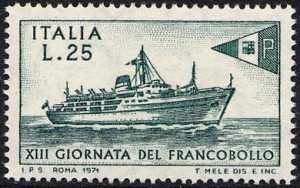 XIII Giornata del Francobollo - nave postale 'Tirrenia'