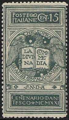 1921 - 6° Centenario della morte di Dante Alighieri - non emesso