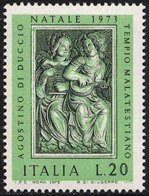 Natale - Bassorilievi di Agostino di Duccio - 'Angeli musicanti' - Tempio Malatestiano, Rimini'