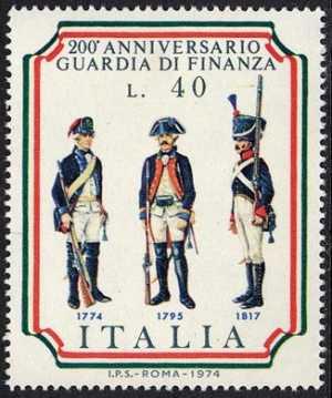 Bicentenario della Guardia di Finanza - divise del 1774, 1795, 1817