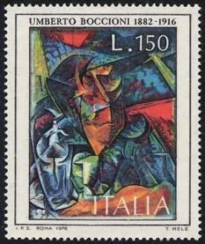 Arte italiana - ' Figura di donna a tavola ' - U. Boccioni