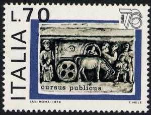 Esposione mondiale di filatelia ' Italia ' 76 ' - carro 'Cursus pubblicus'