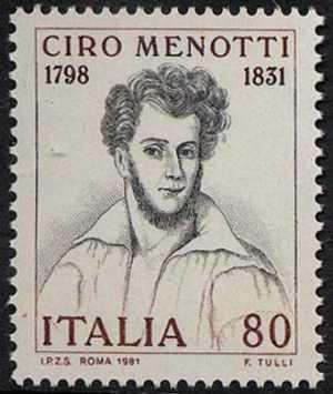 150° Anniversario della morte di Ciro Menotti - incisione dell'800