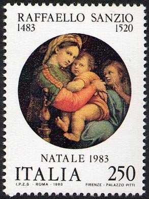 Natale - 5° Anniversario della nascita di Raffaello Sanzio - 'La Madonna della seggiola' - Palazzo Pitti , Firenze