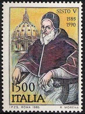 4° Centenario dell'elevazione al Soglio Pontificio di Papa Sisto V - ritratto del pontefice