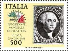 « Italia '85 »- Esposizione internazionale di filatelia a Roma - '10 cents' , America