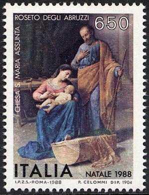 Natale - Dipinto di Pasquale Celommi, nella chiesa di S. Maria Assunta - Roseto degli Abruzzi - «La sacra famiglia»
