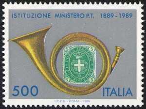 Centenario della Istituzione del Ministero delle Poste e delle Telecomunicazioni - corno di posta e 5 c. del 1889