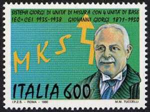 Celebrativo del  «Sistema  MKS Giorgi» di unità di misura  - Giovanni Giorgi