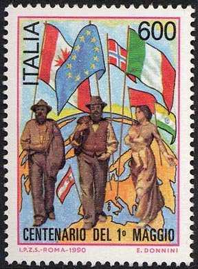 Centenario del «1° Maggio» - particolare dal dipinto di Pelizza da Volpedo «Il Quarto Stato»