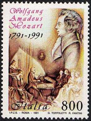 Bicentenario della morte di W. A. Mozart - il compositore alla spinetta