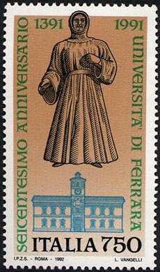 «Scuole d'Italia» - 6° Centenario dell'Università di Ferrara - statua del marchese Alberto V d'Este