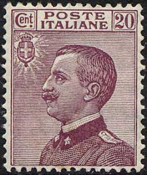 1926 - Tipo del 1908 - Effige di Vittorio Emanuele III - volta a sinistra