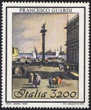 Patrimonio artistico e culturale italiano - Bicentenario della morte di Francesco Guardi - pittore -«La Piazzetta» , Venezia  Ca' d'Oro