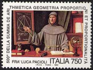 5° Centenario della pubblicazione della «Summa de arithmetica geometria proporzioni et proporzionalità» di Frà Luca Pacioli - dipinto di Silvio Zanchi