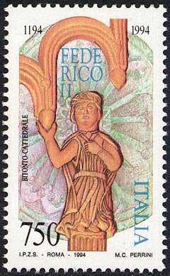 8° Centenario della nascita di Federico II - bassorilievo scolpito sul postergale dell'ambone della Cattedrale di Bitonto