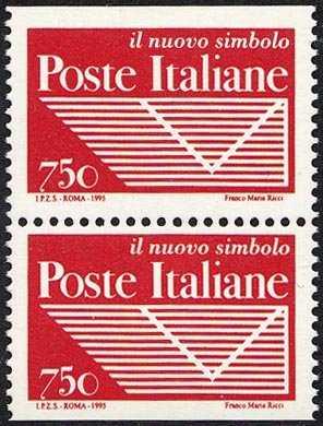 Istituzione dell'Ente Pubblico Economico «Poste Italiane» - emessi a coppie in libretto - logo dell'Ente ( negativo )