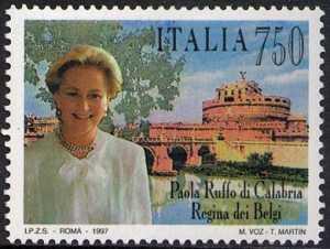 Paola Ruffo di Calabria - Regina dei Belgi - emissione congiunta con il Belgio - ritratto della Sovrana e Castel Sant'Angelo