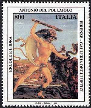 Patrimonio artistico e culturale italiano - 5° Centenario della morte di Antonio del Pollaiolo - dipinto «Ercole e l'Idra»