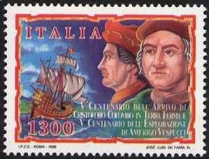 5° Centenario dello sbarco di Cristoforo Colombo in Venezuela e 5° Centenario dell'esplorazione di Amerigo Vespucci - emissione congiunta con il Venezuela - ritratti dei navigatori