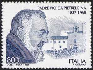 30° Anniversario della morte di Padre Pio - ritratto e Chiesa del Convento dei Padri cappuccini in S. Giovanni Rotondo