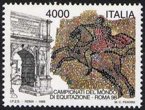 «Lo sport italiano» - Campionati del mondo di Equitazione a Roma - Arco di Tito a Roma e mosaici della Villa Romana del Casale di Piazza Armerina