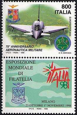 «Italia '98» - Esposizione Mondiale di Filatelia, Milano - «Giornata delle Forze Armate» - 75° dell'Aeronautica