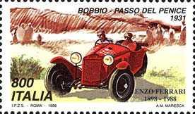«Italia '98» - Esposizione Mondiale di Filatelia, Milano - «Giornata della Ferrari» - gara automobistica Bobbio-Penice, 1931