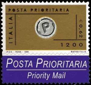 Posta Prioritaria - serie ordinaria - autoadesivo - L. 1200 - € 0,62