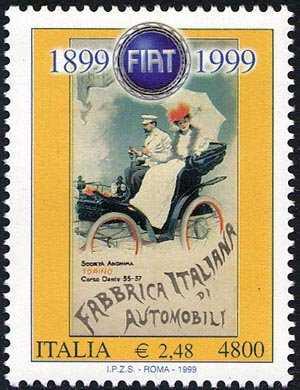 Centenario della fondazione della Fiat - Manifesto pubblicitario d'epoca