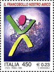 «Il francobollo nostro amico» - Orientamento al collezionismo filatelico - giovane stilizzato