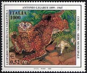 Patrimonio artistico e culturale italiano - Centenario della nascita di Antonio Ligabue - pittore - «Leopardo morso»