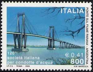 120° Anniversario della costituzione della Società Italiana per Condotte d'Acqua - ponte sul Paranà in Argentina