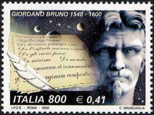 IV° Centenario della morte di Giordano Bruno - ritratto del filosofo e pergamene
