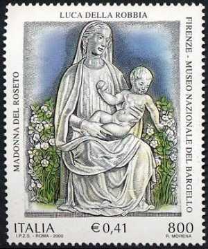 Patrimonio artistico e culturale italiano - VI° Centenario della nascita di Luca della Robbia - scultore e ceramista - «Madonna del roseto»