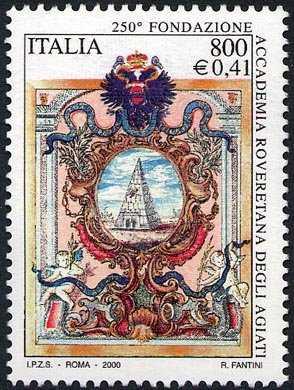 250° Anniversario della fondazione dell'Accademia Roveretana degli Agiati - stemma dell'Accademia