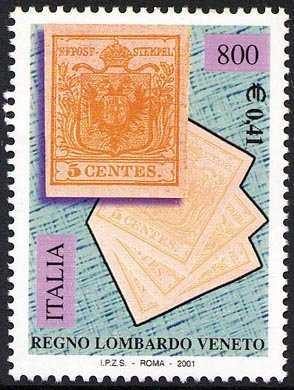 Celebrazione dei primi francobolli del Regno Lombardo Veneto - il 5 centesimi