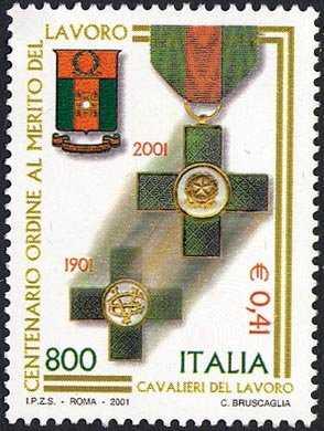 Centenario dell'istituzione dell'Ordine dei «Cavalieri del Lavoro»  - Stemma e decorazioni
