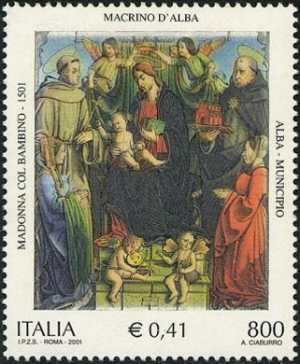 Patrimonio artistico e culturale italiano - «Madonna col Bambino, angeli, i santi Francesco e Tommaso d'Aquino e due domatrici» - dipinto di Macrino d'Alba