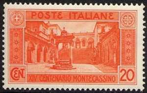 1929 - XIV° Centenario della Abbazia di Montecassino - Chiostro dell'abbazia