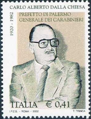 20° Anniversario della morte di Carlo Alberto Dalla Chiesa, Prefetto di Palermo e Generale dei Carabinieri ucciso dalla mafia il 3 settembre 1982 a Palermo