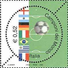 Lo sport italiano - Nazionali campioni del mondo di calcio nel XX secolo - Emissione congiunta con Argentina, Brasile, Francia, Germania ed Uruguay