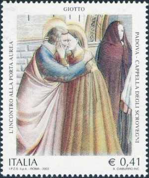 Patrimonio artistico e culturale italiano - Affreschi della Cappella degli Scrovegni - Padova - «L'incontro alla Porta Aurea»
