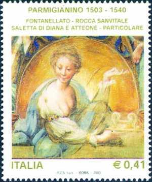 5° Centenario della nascita di Francesco Mazzola detto «Parmigianino» - particolare di un affresco