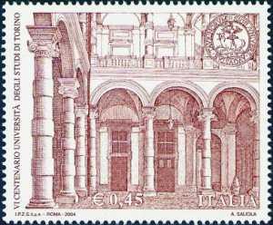 «Scuole ed Università» - 6° Centenario della fondazione dell'Università di Torino  - cortile interno