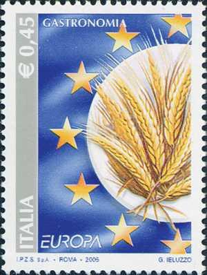 Europa - 50ª serie - Gastronomia - Piatto con spighe di grano