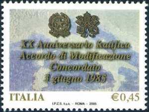 20° Anniversario della ratifica dell'accordo di modificazione del Concordato tra Santa Sede e Italia - carta d'Italia dei Musei Vaticani