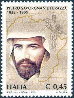 Centenario della morte di Pietro Savorgnan di Brazzà - esploratore - ritratto e cartina dell'Africa